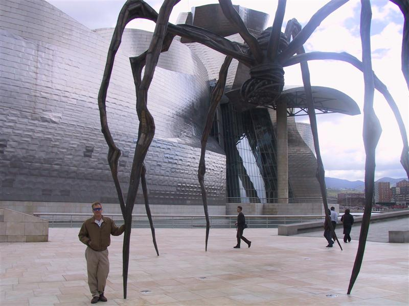 big metallic spider at the rear of the Guggenheim